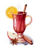 Vinho Mulled com especiarias Ilustração Royalty Free