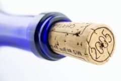 Vinho azul da garrafa com uma cortiça isolada no CCB branco imagem de stock