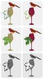 Vinho-pássaro-em-vidro ilustração do vetor