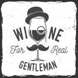 Vinho para o cavalheiro real Crachá, sinal ou etiqueta de empresa da adega Fotos de Stock Royalty Free