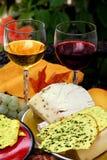 Vinho, queijo, pão Imagem de Stock Royalty Free
