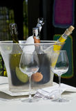 Vinho serido com dois vidros vazios Imagens de Stock Royalty Free