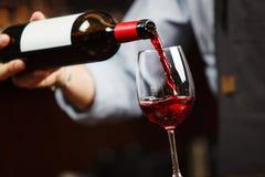 Vinho tinto de derramamento do garçom no copo de vinho O Sommelier derrama a bebida alcoólica fotografia de stock royalty free
