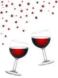 Vinho tinto do divertimento, vidros isolados no fundo branco Fotografia de Stock