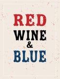 Vinho tinto e azul, quarto da bandeira de julho, tipografia do vetor Imagem de Stock