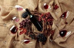 Vinho tinto e uvas em uma serapilheira imagens de stock