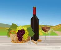 Vinho tinto e vinho branco na paisagem do vinhedo Fotografia de Stock Royalty Free