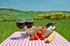 Vinho tinto, pão e tomates Fotos de Stock