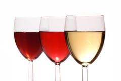 Vinho vermelho, branco e cor-de-rosa Fotografia de Stock