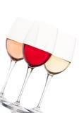 Vinho vermelho, cor-de-rosa e branco nos vidros Imagem de Stock Royalty Free