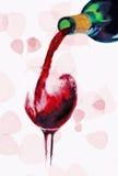 Vinho vermelho de derramamento Foto de Stock Royalty Free