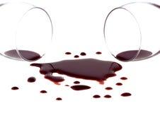 Vinho vermelho derramado Fotografia de Stock Royalty Free
