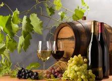 Vinho vermelho e branco com uvas Fotos de Stock