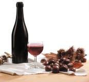 Vinho vermelho e castanhas Imagem de Stock Royalty Free