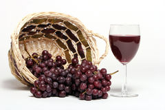 Vinho vermelho e uvas Fotos de Stock Royalty Free