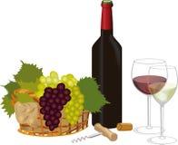 Vinho vermelho e vinho branco Fotografia de Stock