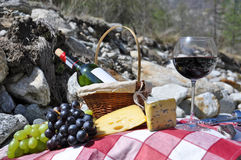 Vinho vermelho, queijo e uvas Foto de Stock Royalty Free