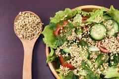 Vinhos do trigo mourisco Alimento do vegetariano Produto-vegetais frescos de vegetables Fundo de Brown Foto de Stock Royalty Free