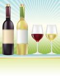 Vinhos vermelhos e brancos Fotografia de Stock