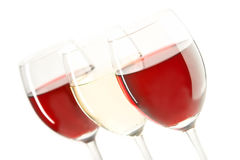 Vini rossi e bianchi Fotografie Stock Libere da Diritti
