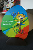 Vinicius is the official mascot of the Rio 2016 Summer Olympics at the Olympic Press Center in Rio de Janeiro Royalty Free Stock Photography