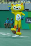 Vinicius is the official mascot of the Rio 2016 Summer Olympics at the Olympic Tennis Centre in Rio de Janeiro. RIO DE JANEIRO, BRAZIL - AUGUST 12, 2016 Royalty Free Stock Photography