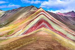 Vinicunca, Rainbow Mountain - Peru. Vinicunca, Peru - Rainbow Mountain & x28;5200 m& x29; in Andes, Cordillera de los Andes, Cusco region in South America stock photo