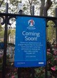 Viniendo pronto, pueblo del invierno en Bryant Park, Midtown, Manhattan, NYC, NY, los E.E.U.U. Foto de archivo