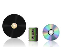 Vinil and cassette Royalty Free Stock Photography