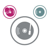 Vinile con l'icona di vettore della mano del DJ isolata Fotografie Stock