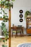 Vinilos sobre el escritorio con la máquina de escribir en el apartamento elegante del vintage imagenes de archivo