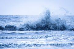 Vinka att krascha in i wavaebreaker på den louisiana Gulf Coast Arkivfoto