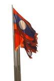 Vinka för Laos flagga som isoleras på vit bakgrund Arkivbilder