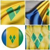 Vinka för Saint Vincent och Grenadinerna flagga stock illustrationer