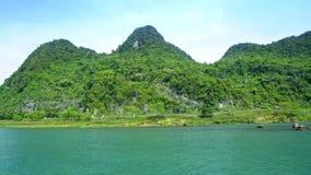 Vinka förgångna skogsbrukkullar på flodbanken under blå himmel arkivfilmer