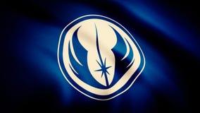 Vinka i vindflaggan med symbolet av Jedi beställning Animeringen av flaggan av det Jedi beställningssymbolet Stjärnakrigen royaltyfri illustrationer