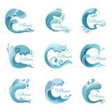 Vinka med droppar, havet eller havsvätskesymboler eller tecken royaltyfri illustrationer