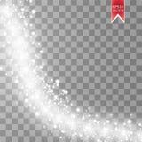 Vinka stjärnor, och snöflingor skuggar effekt på genomskinlig bakgrund Abstrakt ljus målningvektorillustration Arkivbilder