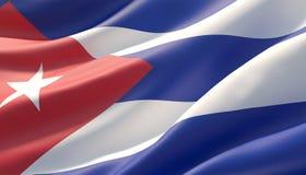 Vinkad högt detaljerad närbildflagga av Kuban illustration 3d stock illustrationer