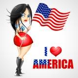 Vinkande amerikanska flaggan för kvinna royaltyfri illustrationer