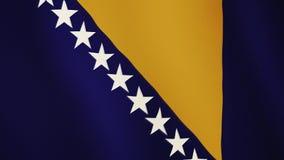 Vinkande animering för Bosnien och Hercegovina flagga Full skärm Symbol av landet lager videofilmer