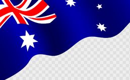 Vinkande australisk flagga mot transparentbackground vektor illustrationer