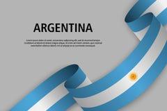 Vinkande band med flaggan av Argentina vektor illustrationer