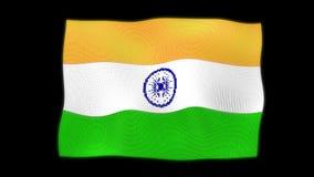Vinkande 3d nationsflaggan av Indien på svart bakgrund stock illustrationer