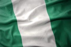 Vinkande färgrik flagga av Nigeria Arkivbild