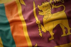 Vinkande färgrik flagga av Sri Lanka Arkivfoton