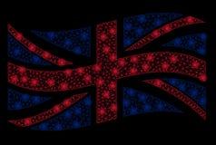 Vinkande Förenade kungariket flagga Mesh Illustration med ljus effekt vektor illustrationer
