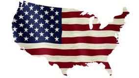 Vinkande flagga av Amerikas förenta stater som överdras på översikt