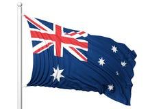 Vinkande flagga av Australien på flaggstång Royaltyfria Bilder