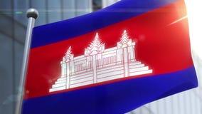 Vinkande flagga av den Cambodja animeringen stock video
